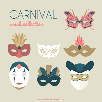Flat collection of venetian masks