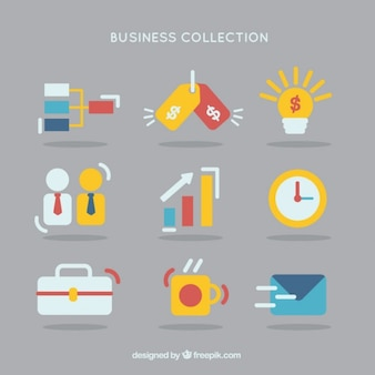 Flat colored business icon collection