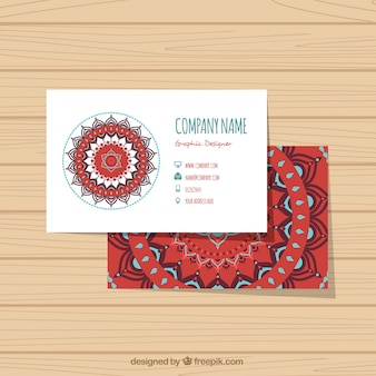 Flat corporate card with abstract floral decoration