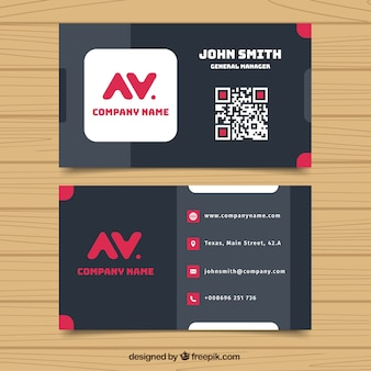 Flat corporate card with pink details