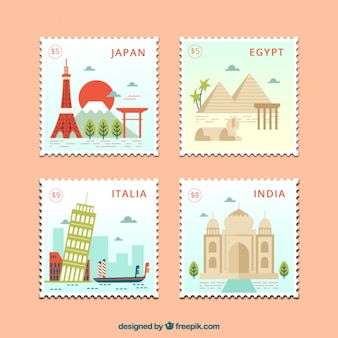 Flat countries stamps