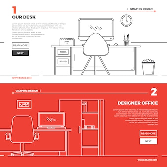 Flat creative workspace illustration