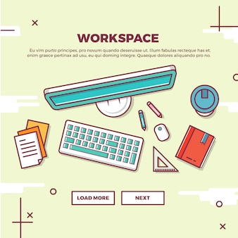 Flat creative workspace