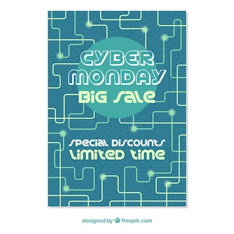 Flat cyber monday poster template with connecting lines