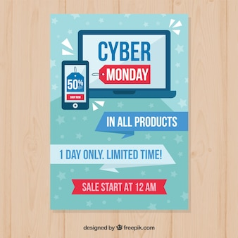 Flat cyber monday poster template with laptop