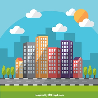 Flat daytime modern city background