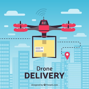 Flat delivery drone in the city