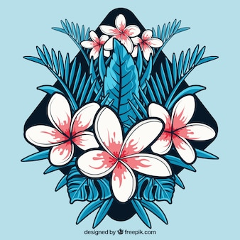 Flat design abstract tropical flower background