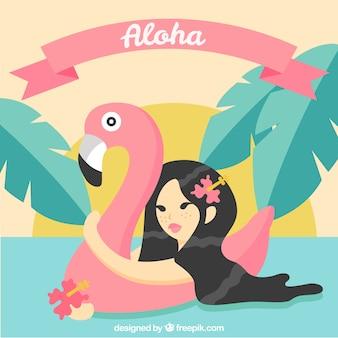 Flat design aloha flamingo background