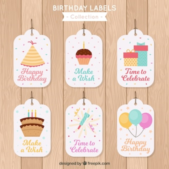 Flat design birthday labels collection