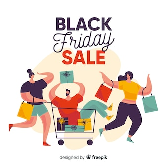 Flat design of black friday with people