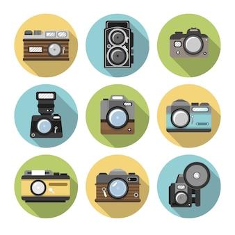 サークルコレクション内のフラットデザインカメラ