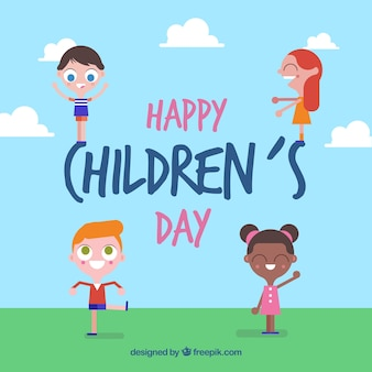 Flat design childrens day concept with girls