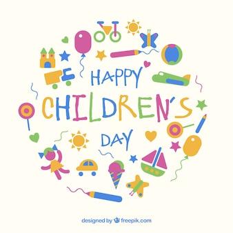 Flat design childrens day concept