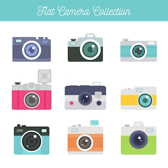 Flat design classic camera collection