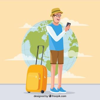 Flat design happy traveler