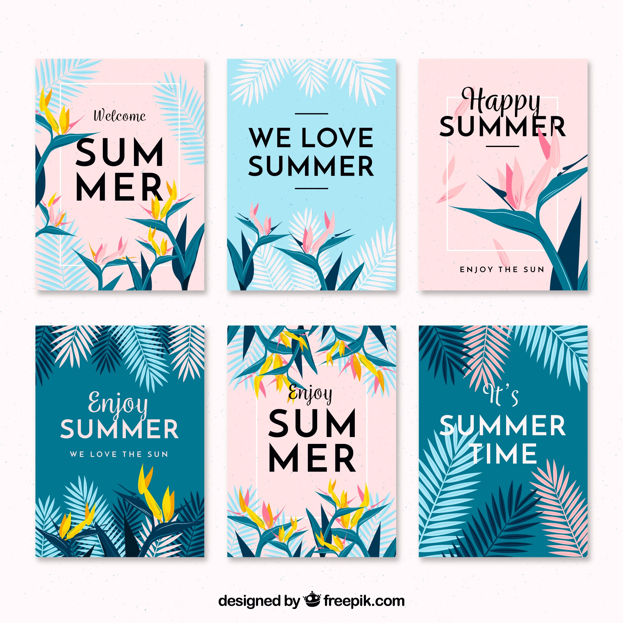 Flat design modern summer card collection