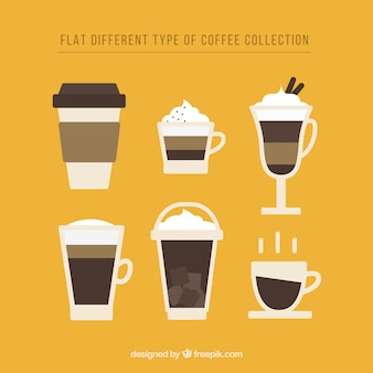 Flat design of coffee mugs