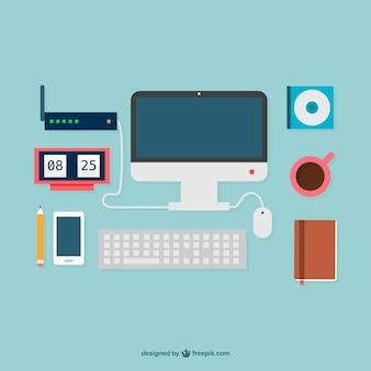 Flat design office supplies graphics