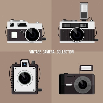 Flat design retro cameras collection
