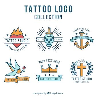 Flat design tattoo logo collection