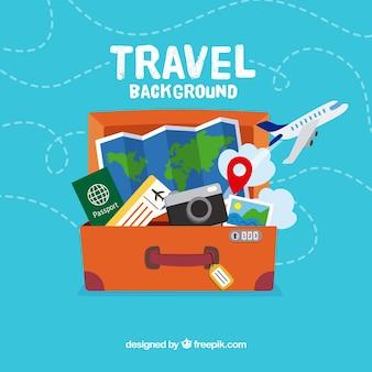 Flat design travel bag background