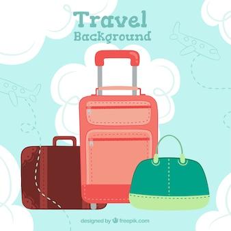 Flat design travel baggage background