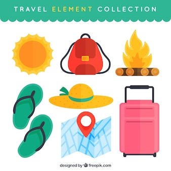 Flat design travel elements collection