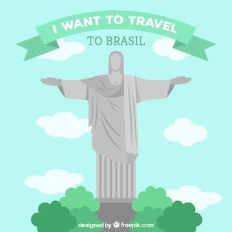 Flat design travel to brasil background