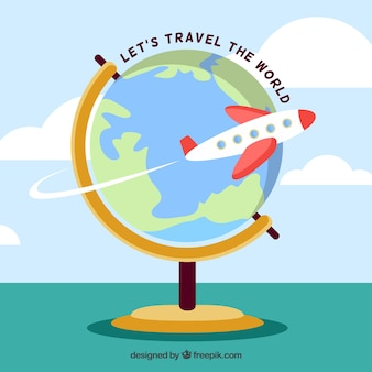 Flat design travelling the world globe background
