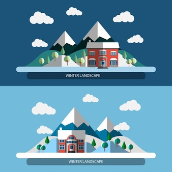 Flat design winter Landscape Banners