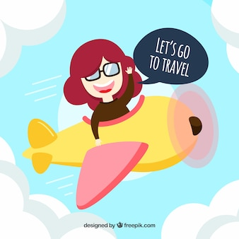 Flat design woman travelling by plane background