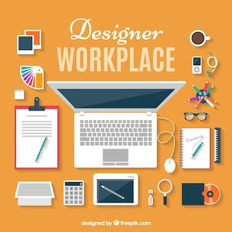 Flat designer workplace in top view