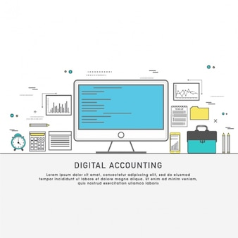 Flat digital accounting background