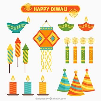 Flat diwali festival element collection