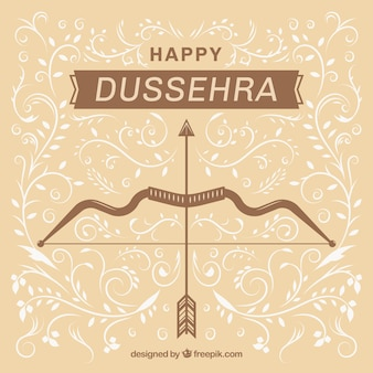 Flat dussehra background with bow and arrow