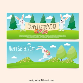 Flat easter banners with funny rabbits in flat design