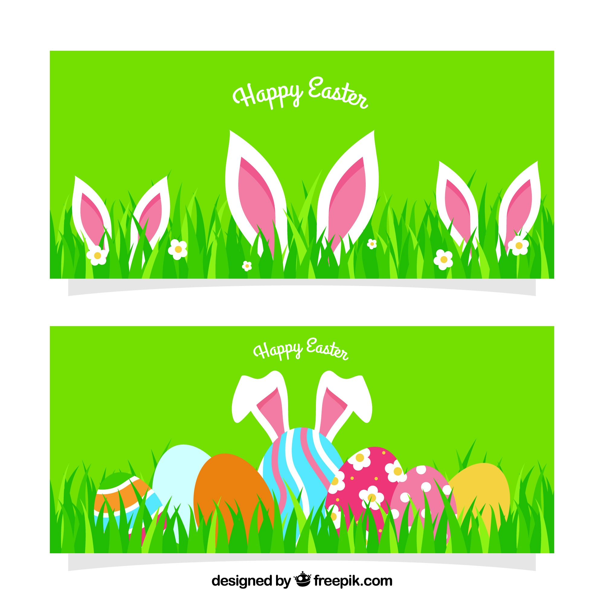 Flat easter banners with rabbit ears and eggs