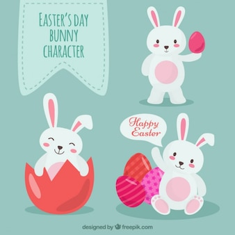 Flat Easter Bunny Characters