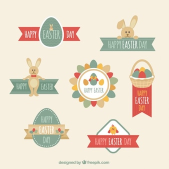 flat Easter Day Label Set