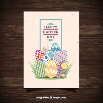 Flat Easter eggs greeting card