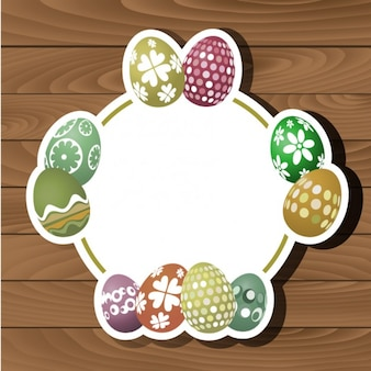 Flat Easter Eggs on Wood Background