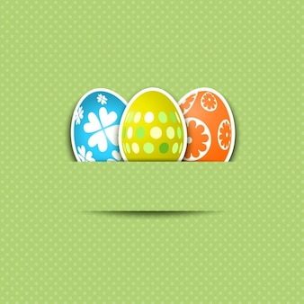 Flat Easter Eggs with Green Background