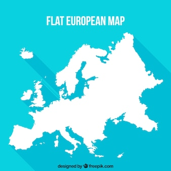 Flat european map with blue background