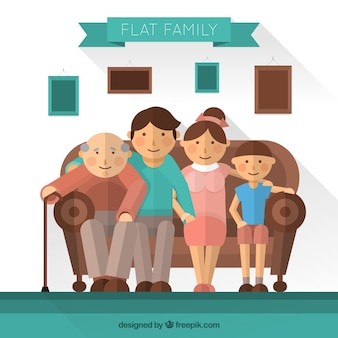 Flat family sitting on a couch