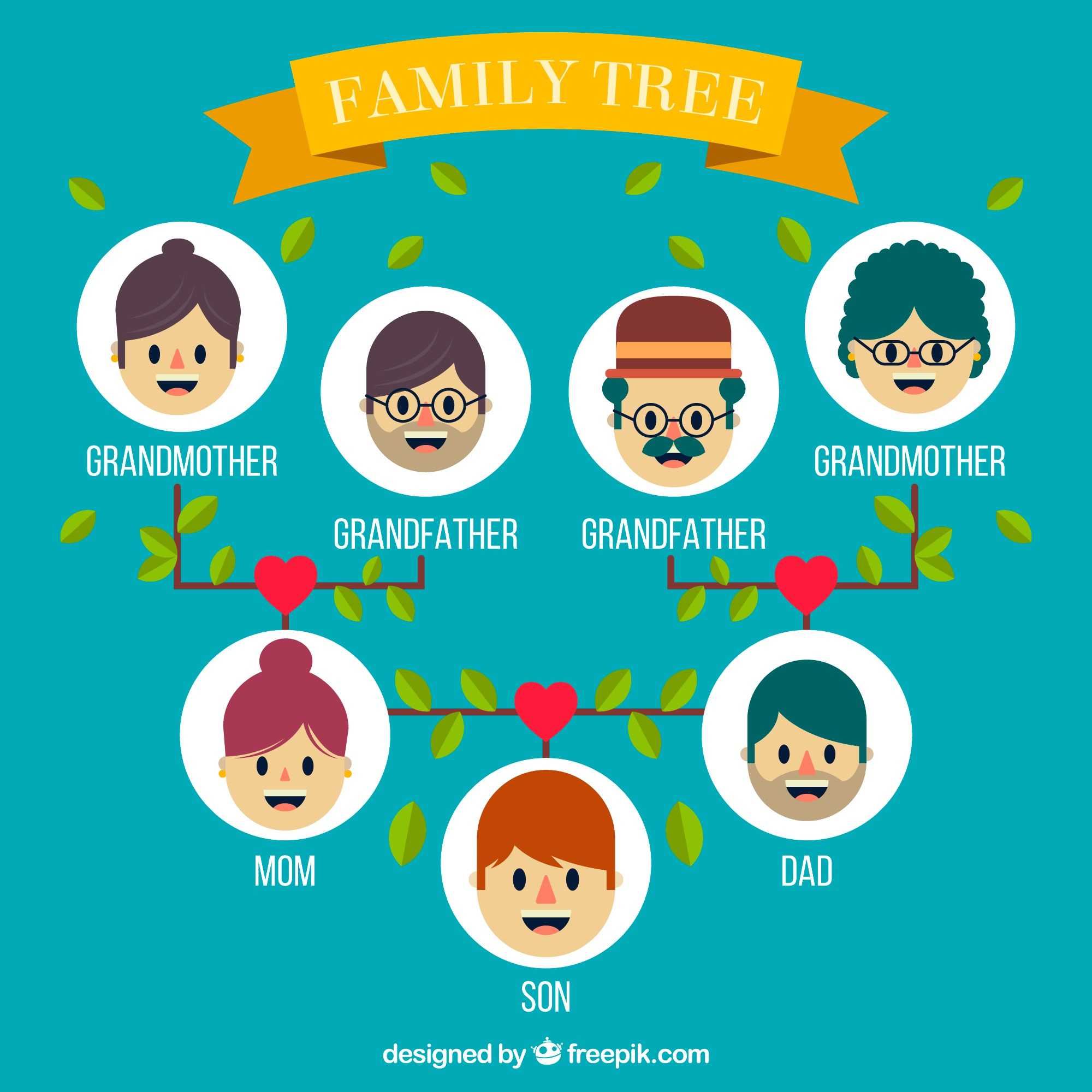 Flat family tree with decorative leaves and hearts