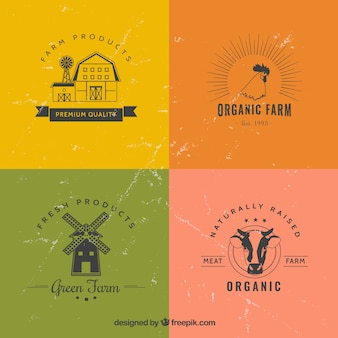 Flat farm logotypes in grunge style