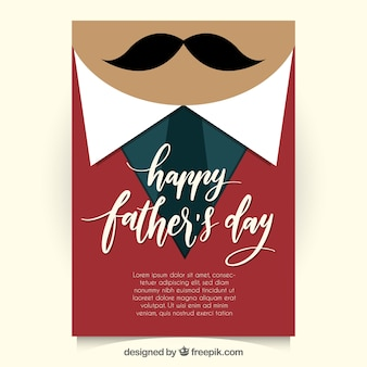 Flat father's day greeting card