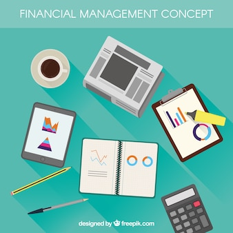 Flat financial concept with classic elements