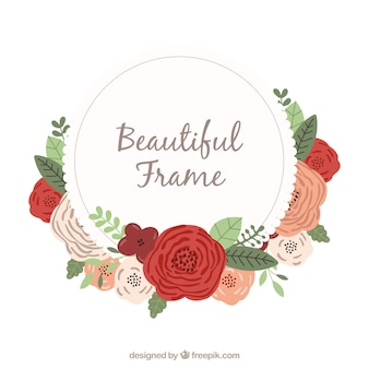 Flat floral frame with roses